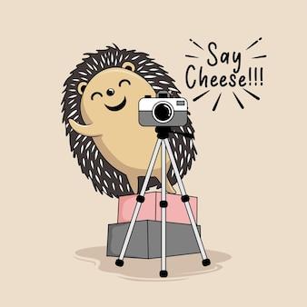 Fotografia di riccio say cheese cartoon