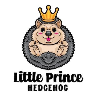 Logo della mascotte del fumetto del principe riccio
