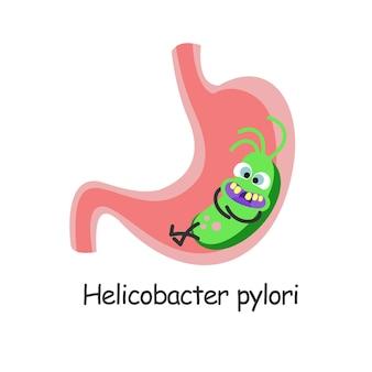 Helicobacter pylori. batteri nocivi che si trovano nello stomaco. illustrazione vettoriale.