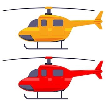 Illustrazione del fumetto dell'elicottero isolato su sfondo bianco.