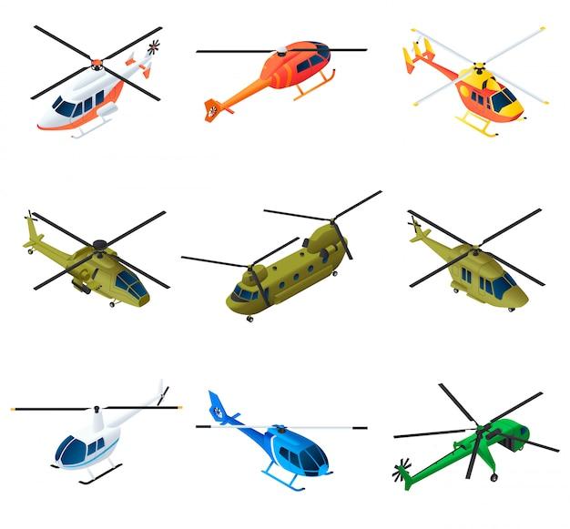 Insieme di elementi dell'elicottero, stile isometrico