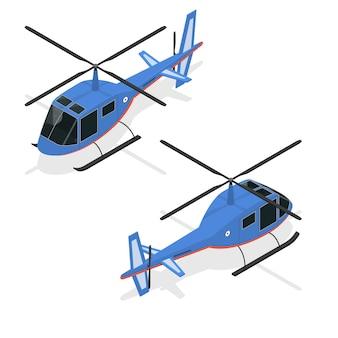 Vista isometrica di trasporto passeggeri aereo veloce elicottero.