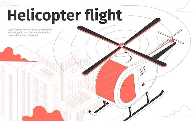 Illustrazione di volo in elicottero