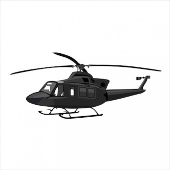 Elicottero in sfondo bianco Vettore Premium