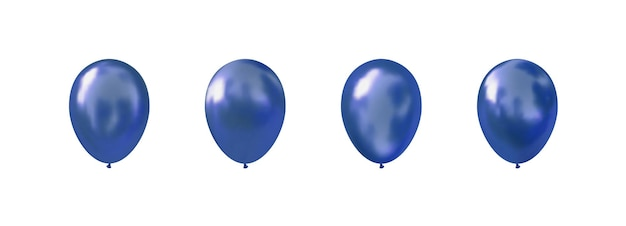 Palloncini di elio. palloncino blu lucido realistico. .