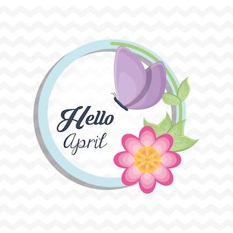 Ciao design aprile con bella icona fiore e farfalla