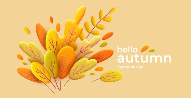 Ciao autunno banner minimo 3d con foglie arancioni
