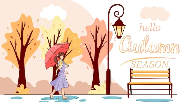 Ciao banner autunnale. una ragazza con un ombrello cammina nel parco autunnale. stile cartone animato. illustrazione vettoriale per design e decorazione.
