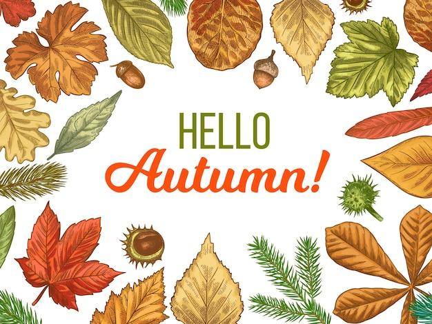 Ciao carta d'autunno con cornice di foglie