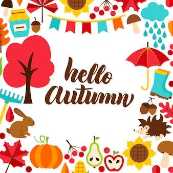 Ciao autunno concetto con scritte. illustrazione di vettore. stagione autunnale.