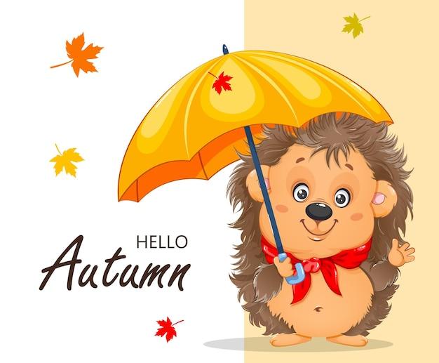 Ciao autunno riccio simpatico cartone animato riccio divertente personaggio dei cartoni animati con ombrellone