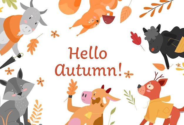Ciao autunno, illustrazione di vettore di concetto di caduta carina