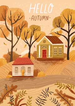 Ciao modello di biglietto di auguri disegnato a mano autunno. cartolina, layout poster. paesaggio di stagione autunnale, paesaggio di campagna, atmosfera autunnale. case rustiche, illustrazione accogliente cottage con tipografia.