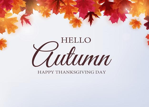 Ciao autunno. felice giorno del ringraziamento sfondo con foglie che cadono.