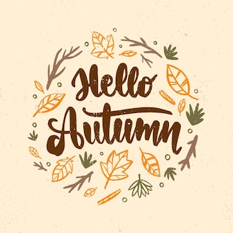 Ciao scritte autunnali con foglie disegnate