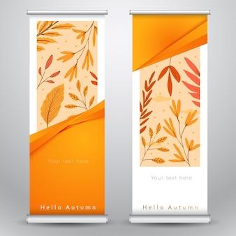 Ciao disegno del modello di banner rotolo autunnale con foglie marroni gialle