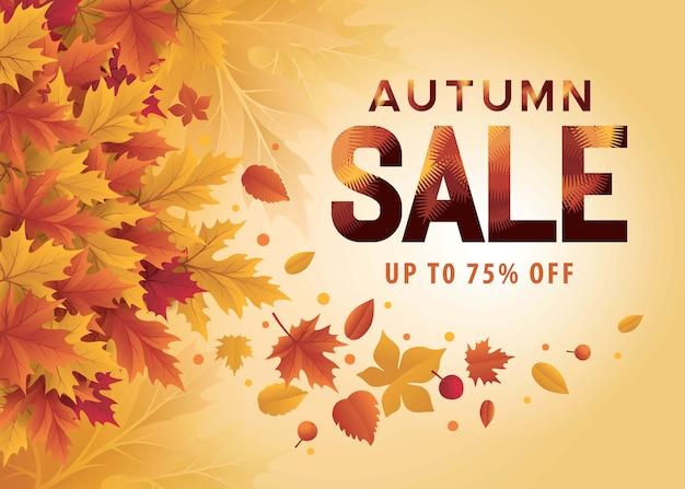 Ciao stagione autunnale. sfondo autunno con foglie di autunno. banner di vendita dello shopping di stagione autunnale