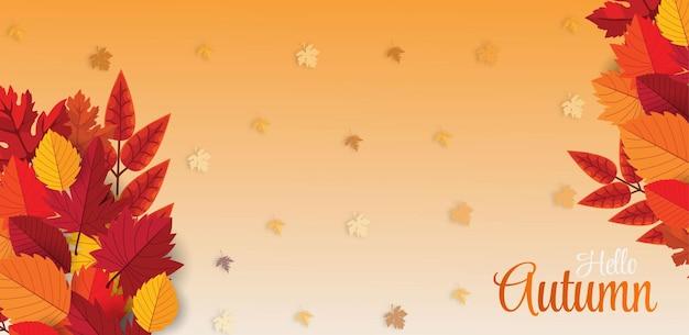 Ciao sfondo stagionale autunnale con foglie che cadono best vector