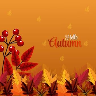 Ciao sfondo stagionale autunnale con foglie che cadono vista migliore vector