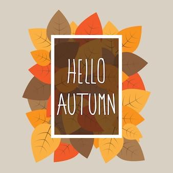 Ciao autunno tipografiche su sfondo di foglie