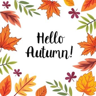 Ciao autunno con foglie di decorazione