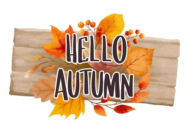 Ciao autunno con ornato di foglie sfondo floreale modello di lettering disegnato a mano autunno ottobre