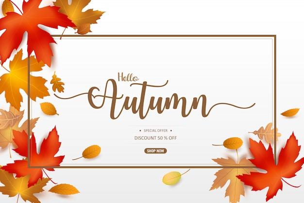 Ciao parola d'autunno con foglia secca