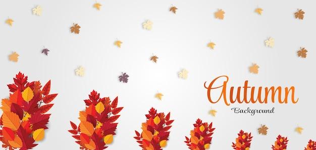 Ciao autunno scrivi sfondo con foglie autunnali rosse arancioni marroni e gialle vettore premium