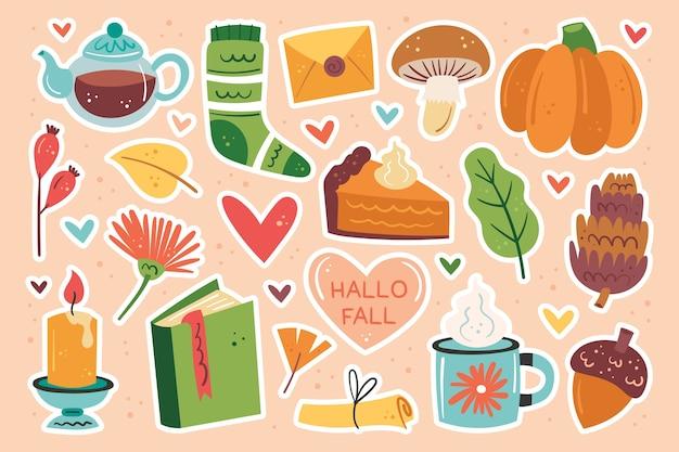 Ciao autunno. clipart autunno, insieme di elementi.