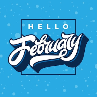 Ciao tipografia di febbraio con cornice rettangolare con neve che cade.
