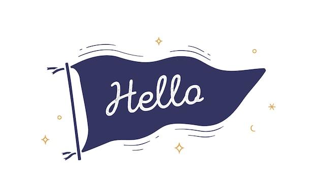 Ciao. bandiera grafica. vecchia bandiera alla moda vintage con testo ciao.
