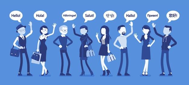 Ciao saluto in lingue e gruppo di persone diverse. uomini e donne amichevoli di diversi paesi che salutano, parola di riconoscimento, segno di benvenuto con la mano. illustrazione vettoriale, personaggi senza volto