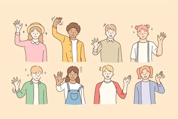 Ciao, saluto, concetto di amicizia di razza mista.