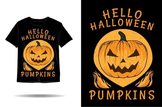 Ciao disegno della maglietta della siluetta delle zucche di halloween