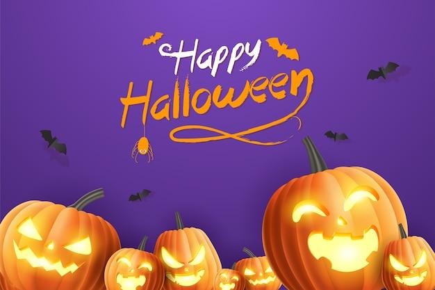 Ciao banner di halloween happy halloween, banner di promozione di vendita con zucche di halloween e pipistrelli su sfondo viola. illustrazione 3d