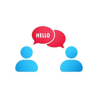 Ciao icona piatta. persone che parlano icona. icona della finestra di dialogo. conversazione, comunicazione utente
