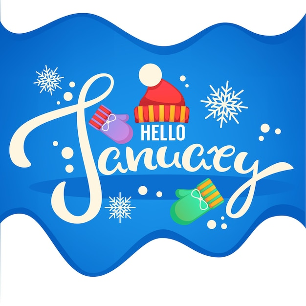 Ciao gennaio, volantino di composizione scritta con cappello lavorato a maglia, guanti e fiocchi di neve