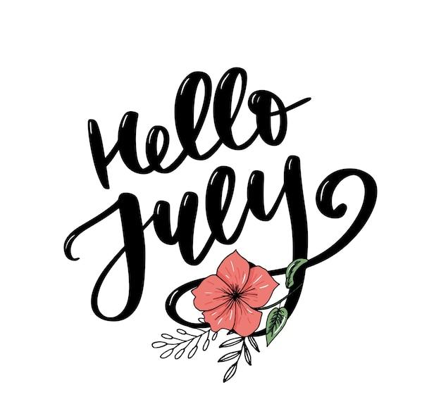 Ciao stampa lettering luglio. illustrazione minimalista estiva. calligrafia isolato