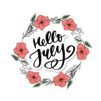 Ciao stampa lettering luglio. illustrazione minimalista estiva.