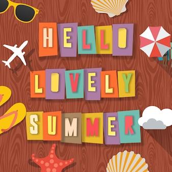 Ciao bella estate estate in viaggio sfondo con accessori estivi da spiaggia illustrazione vettoriale