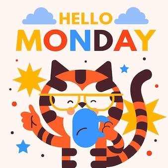 Ciao sfondo lunedì con gatto che beve caffè