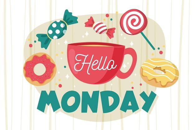 Ciao messaggio di lunedì con caramelle illustrate
