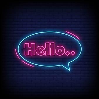 Ciao insegne al neon in stile testo