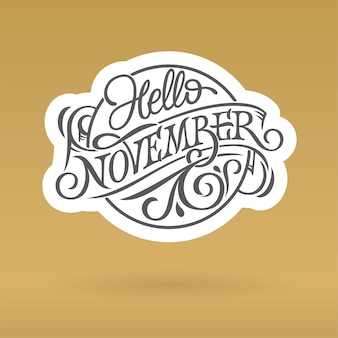 Ciao novembre logo nel cerchio di forma