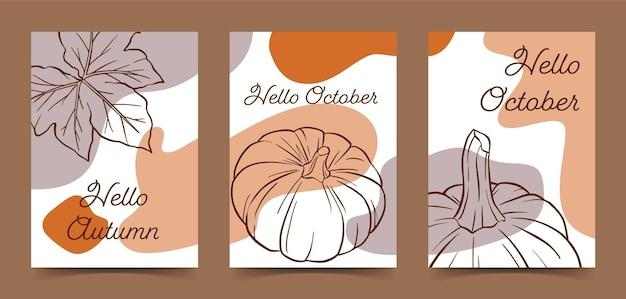 Ciao ottobre, zucca e foglia, modello di poster estetico disegnato a mano
