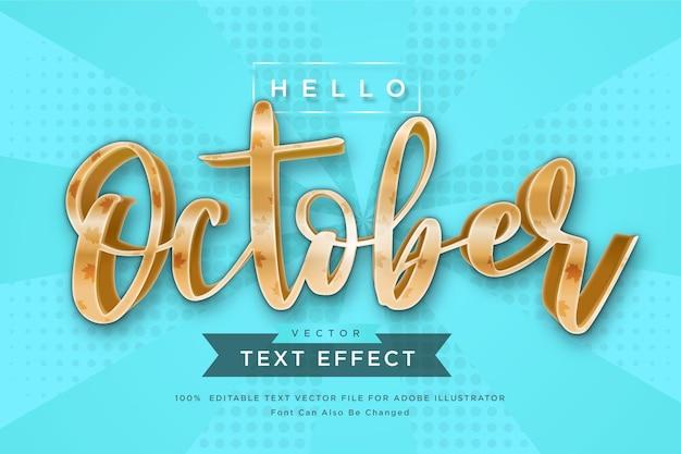 Ciao ottobre effetto testo