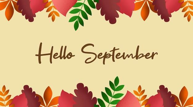 Ciao settembre sfondo illustrazione vettoriale. felice giorno d'estate illustrazione vettoriale