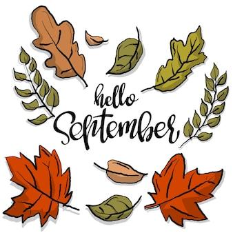 Ciao settembre calligrafia colorata biglietto di auguri autunnale illustrazione disegnata a mano