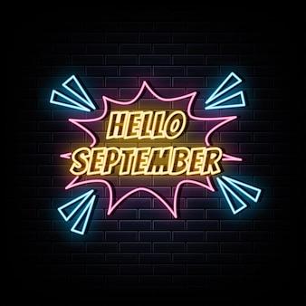 Ciao simbolo al neon dell'insegna al neon di settembre