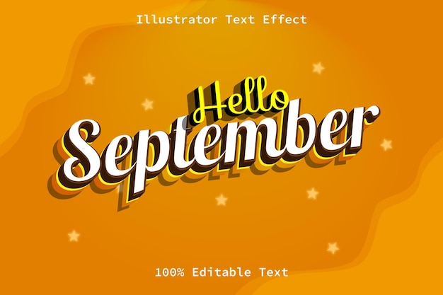 Ciao settembre con effetto di testo modificabile in stile retrò dei cartoni animati